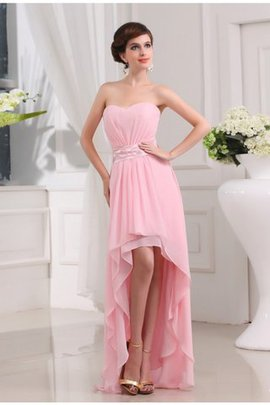 High Low Chiffon Princess Beading Sleeveless Prom Dress