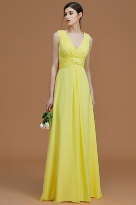 Sleeveless Ruched Floor Length Natural Waist V-Neck Bridesmaid Dress