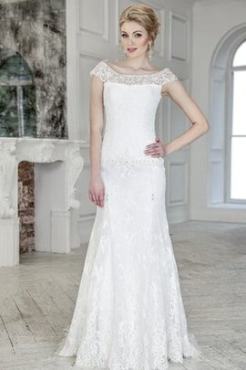 Capped Sleeves Beading Lace-up Floor Length Simple Wedding Dress