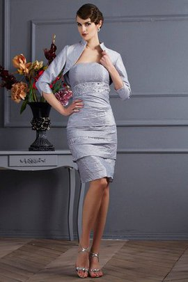 Strapless Knee Length Taffeta Sheath Natural Waist Mother Of The Bride Dress