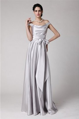 Zipper Up Off The Shoulder Sashes Sleeveless Elastic Woven Satin Evening Dress