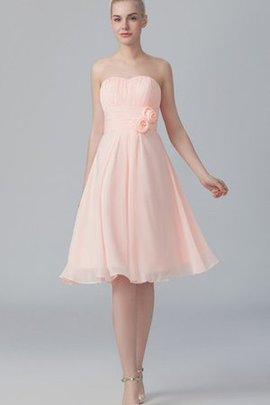 A-Line Short Pleated Flowers Sweetheart Bridesmaid Dress