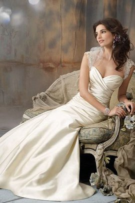 Beading Ruched Taffeta Queen Anne Capped Sleeves Wedding Dress
