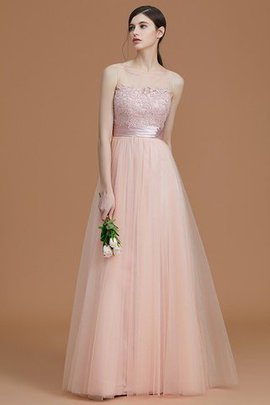 Tulle Zipper Up A-Line Appliques Bridesmaid Dress