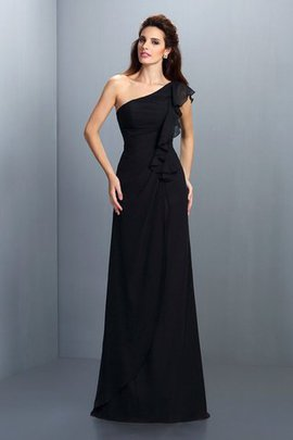 Chiffon Long Zipper Up Draped Floor Length Bridesmaid Dress