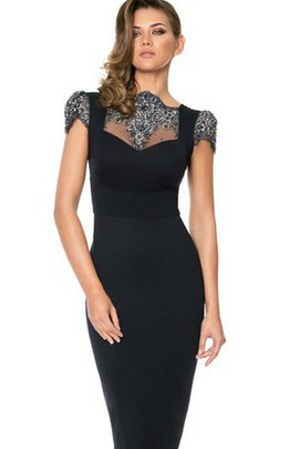 Backless Formal Bateau Sequined High Neck Cocktail Dress