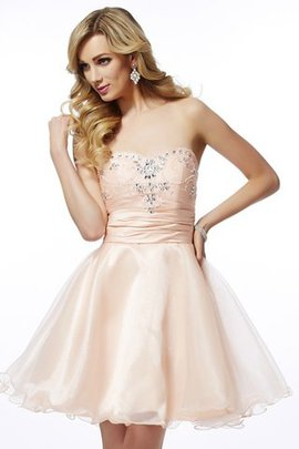 Short Sleeveless Natural Waist Beading Zipper Up Homecoming Dress