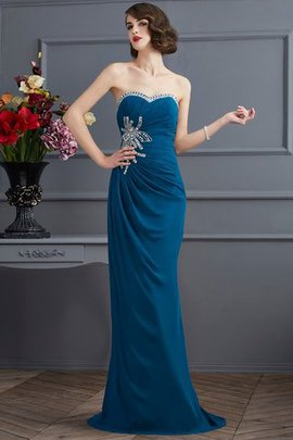 Sleeveless Natural Waist Sweetheart Chiffon Long Evening Dress