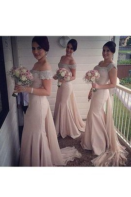 Sleeveless Appliques Split Front Off The Shoulder Beading Bridesmaid Dress