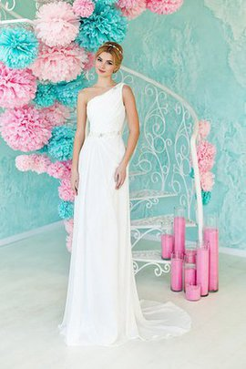 Chiffon Sleeveless Sheath Ruched Floor Length Wedding Dress