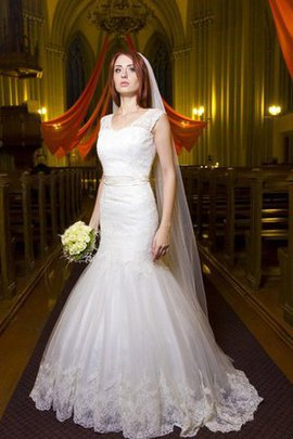 Pleated Short Sleeves Lace Fabric V-Neck Wedding Dress