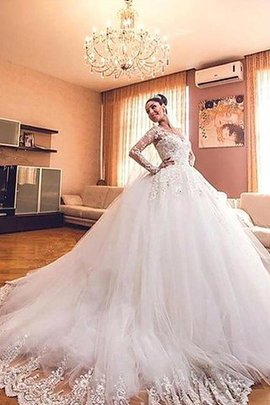 V-Neck Long Sleeves Ball Gown Tulle Court Train Wedding Dress