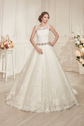 Scoop Sleeveless Lace Fabric A-Line Appliques Wedding Dress