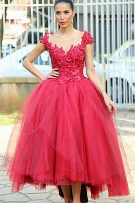 Beading V-Neck Ruched Tulle Appliques Evening Dress