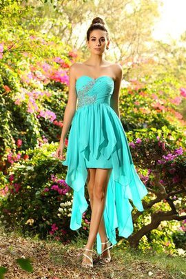 High Low Empire Waist Beading Sweetheart Bridesmaid Dress