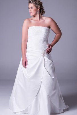 A-Line Floor Length Strapless Satin Elegant & Luxurious Wedding Dress