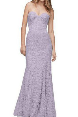 Sweetheart Lace Fabric Sheath Ruched Floor Length Bridesmaid Dress