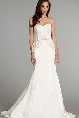 Lace Satin Sweetheart Sleeveless Natural Waist Wedding Dress