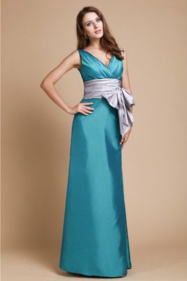 V-Neck Taffeta Empire Waist Sheath Bridesmaid Dress