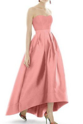 Satin Sashes Pleated High Low Simple Bridesmaid Dress