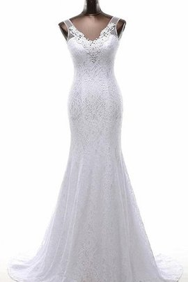 Simple Lace Appliques V-Neck Beading Wedding Dress