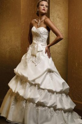 Embroidery Satin Tiered Floor Length Natural Waist Wedding Dress