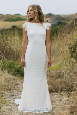 Simple Sweep Train Beach Vintage Lace Wedding Dress