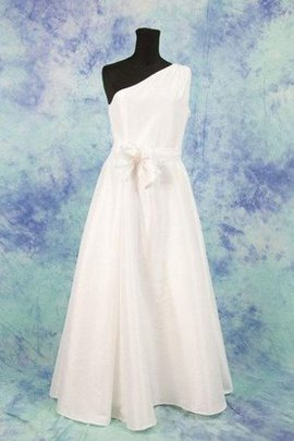 Bow Sleeveless One Shoulder Ruched Natural Waist Wedding Dress