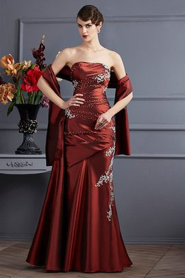Strapless Long Floor Length Sleeveless Taffeta Prom Dress