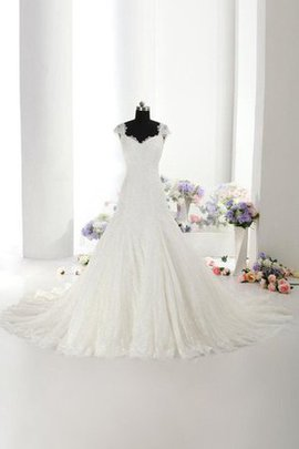 Short Sleeves Capped Sleeves V-Neck Floor Length Natural Waist Wedding Dress