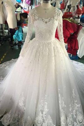 Lace Chapel Train Tulle Modest Appliques Wedding Dress