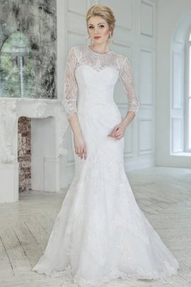 Beach 3/4 Length Sleeves Sweep Train Lace Fabric Lace-up Wedding Dress