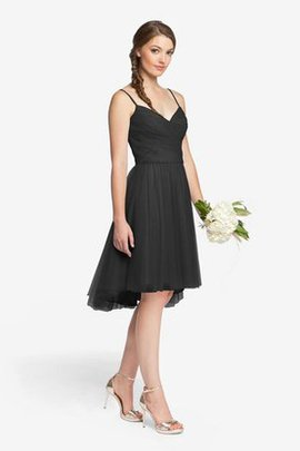 Spaghetti Straps Tulle Elegant & Luxurious Criss-Cross Sleeveless Bridesmaid Dress