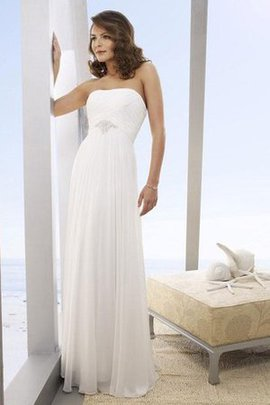 Sleeveless Floor Length Beading Strapless Sheath Wedding Dress