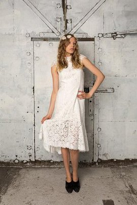 Simple Lace Fabric Informal & Casual High Neck Wedding Dress