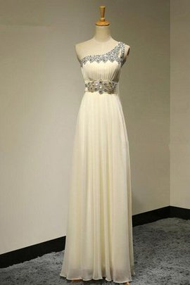 Floor Length A-Line Beading One Shoulder Chiffon Bridesmaid Dress