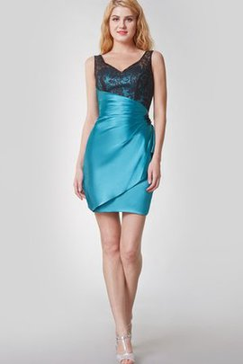 Draped Satin Simple V-Neck Zipper Up Cocktail Dress