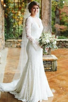 Hourglass Mermaid Sheer Back Graceful Simple Embroidery V-Neck Wedding Dress