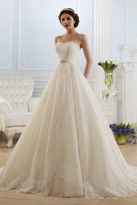 Floor Length Strapless Lace Fabric A-Line Chapel Train Wedding Dress