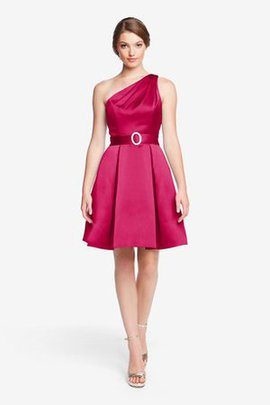Honorable Pleated Short One Shoulder Bridesmaid Dress