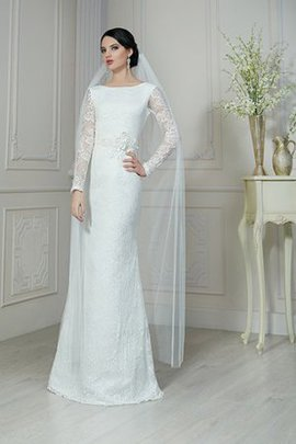 Long Sleeves Scoop Floor Length Informal & Casual Sheath Wedding Dress