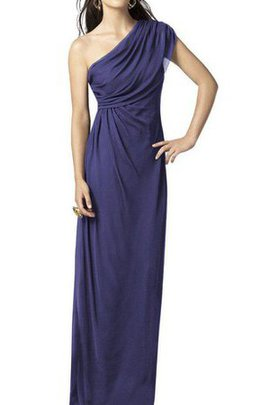 Ruched Long A-Line Chiffon One Shoulder Bridesmaid Dress