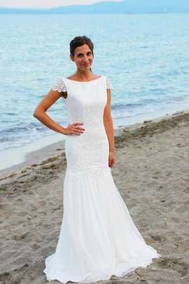 Sexy Mermaid Capped Sleeves Bateau Floor Length Wedding Dress