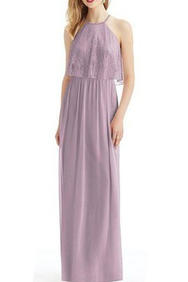 Pleated Vintage Sheath Floor Length Chiffon Bridesmaid Dress