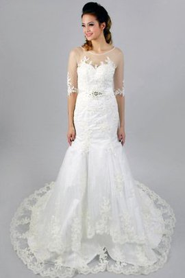Half Sleeves Scoop Lace Mermaid Appliques Wedding Dress