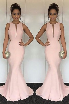 Sleeveless Sweep Train Natural Waist Mermaid Satin Attractive Jewel Evening Dress