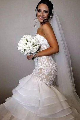 Thin Multi Layer Lovely Romantic Sweetheart Natural Waist Mermaid Wedding Dress