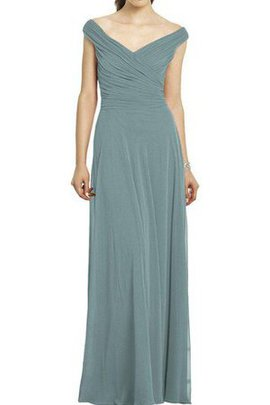 Off The Shoulder V-Neck Pleated Simple Ruched Bridesmaid Dress