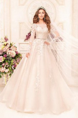Appliques A-Line Lace Beading Floor Length Wedding Dress