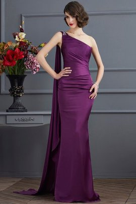 One Shoulder Natural Waist Long Zipper Up Sheath Evening Dress